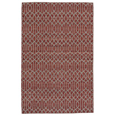 Hallock Hand-Loomed Red Area Rug Rug Size: 4 x 6