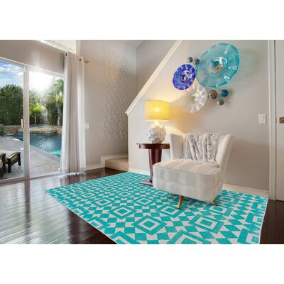 Paolucci Hand-Woven Turquoise Area Rug Rug Size: Rectangle 8 x 10
