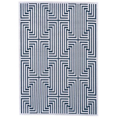 Drew Blue/White Area Rug Rug Size: Rectangle 53 x 76