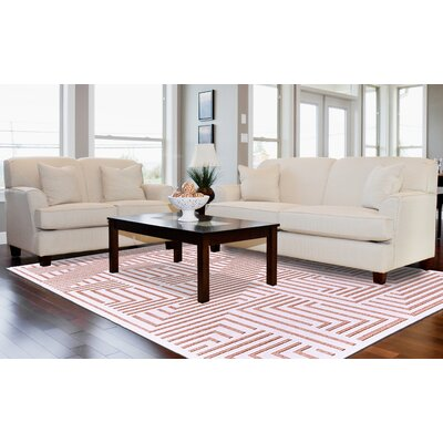 Drew White/Blush Area Rug Rug Size: 76 x 106