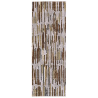 Katya Taupe/Dark Gold Area Rug Rug Size: Runner 21 x 71
