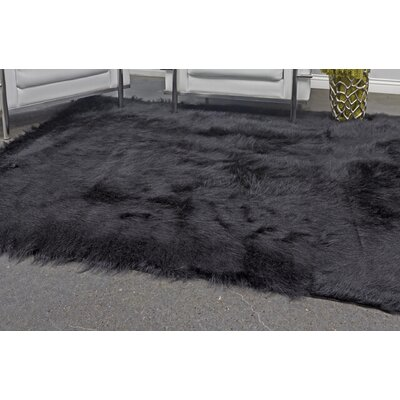 Linden Hand Knotted Faux Fur Black Area Rug Rug Size: Rectangle 5 X 7