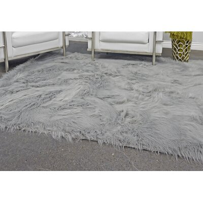 Linden Hand Knotted Faux Fur Gray Area Rug Rug Size: Rectangle 5 X 7