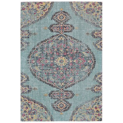Schifflange Traditional Aqua/Multi Area Rug Rug Size: Rectangle 5 x 8