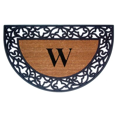 Half Round Acanthus Border Personalized Monogrammed Doormat