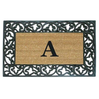 Rubber Coir Acanthus Monogrammed Door Mat Letter: A