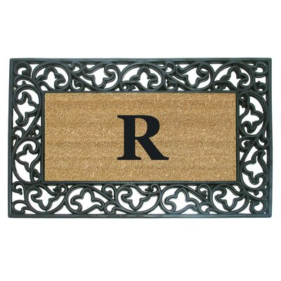 Rubber Coir Acanthus Monogrammed Door Mat Letter: R