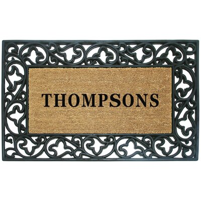 Rubber Coir Acanthus Personalized Door Mat Rug Size: 2'6 x 4'