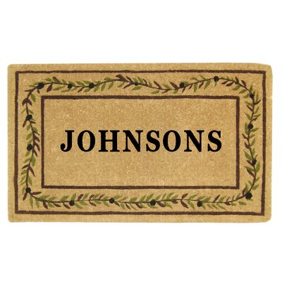 Heavy Duty Coco Olive Branch Border Personalized Door Mat