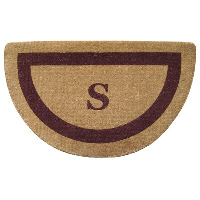 Half Round Single Picture Frame Monogrammed  Doormat Color: Brown