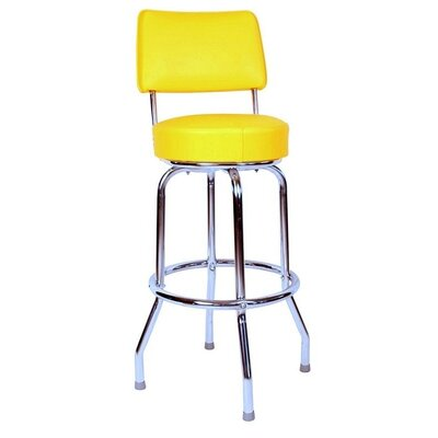 Retro Home 24 Swivel Bar Stool Upholstery: Yellow