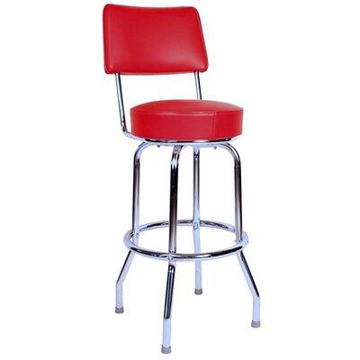 Retro Home 24 Swivel Bar Stool Upholstery: Red