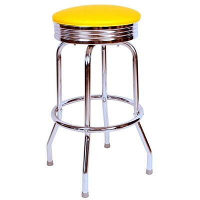 Retro Home 30 Swivel Bar Stool Upholstery: Yellow