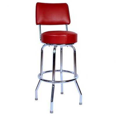 Retro Home 30 Swivel Bar Stool Upholstery: Red