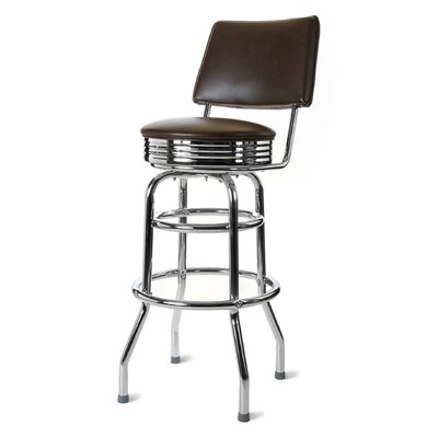 Retro Home 30 Swivel Bar Stool Upholstery: Brown