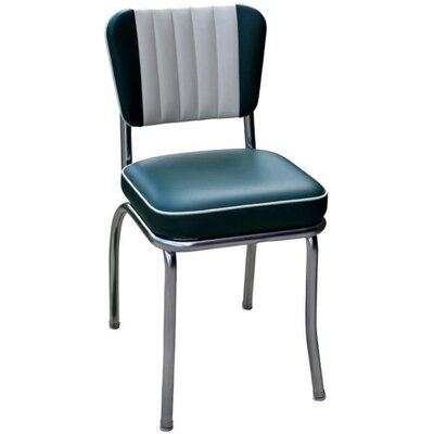 Retro Home Side Chair Upholstery: Green