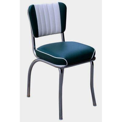 Retro Home Side Chair with Two Toned Channel Back Upholstery: Green