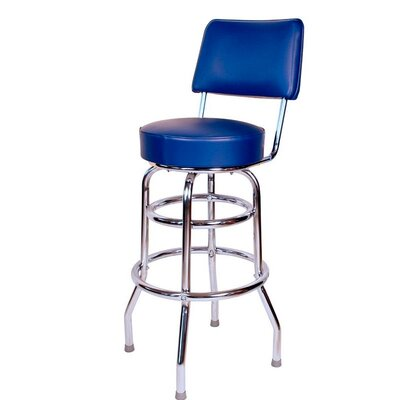 Retro Home 30 inch Swivel Bar Stool Upholstery: Blue
