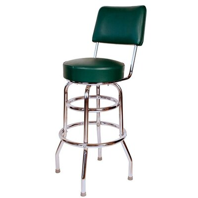 Retro Home 30 Swivel Bar Stool Upholstery: Green