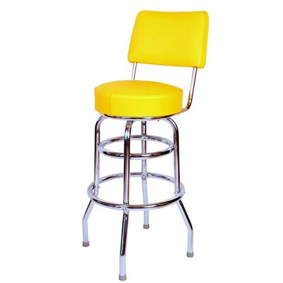 Retro Home 30 inch Swivel Bar Stool Upholstery: Yellow
