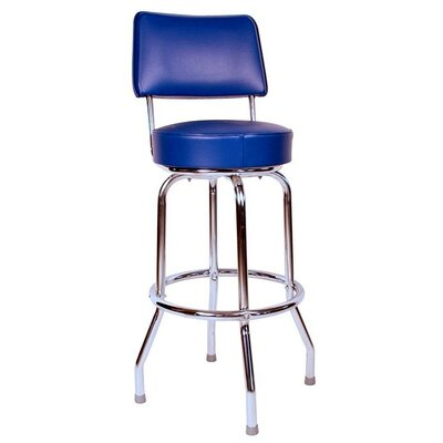"Retro Home 24"" Swivel Bar Stool with Cushion Seat Color: Blue"