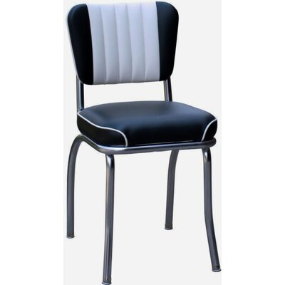 Retro Home Side Chair with Two Toned Channel Back Upholstery: Black