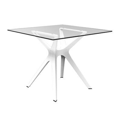 Holthaus Square Dining Table Base Finish: White, Top Finish: Tempered