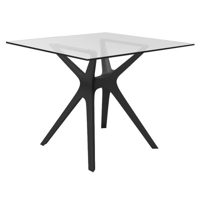 Holthaus Square Dinning Table Top Finish: Tempered, Base Finish: Black