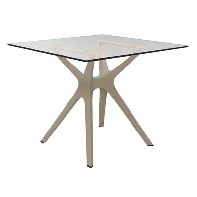 Holthaus Square Dining Table Base Finish: Sand, Top Finish: Tempered