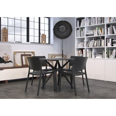 Holthaus Dinning Table Base Finish: Black, Top Finish: Black