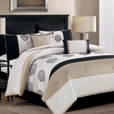 Terrytown 8 Piece Comforter Set Size: King, Color: Taupe
