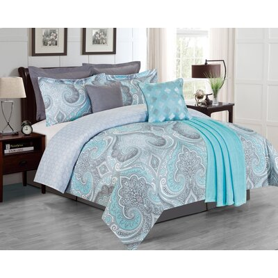 The La Salle Fall River 8 Piece Comforter Set Size: King, Color: Navy
