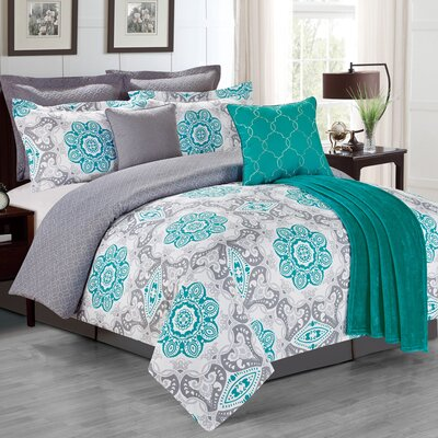 The La Salle Sunrise 8 Piece Comforter Set Color: Teal, Size: King