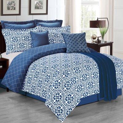 The La Salle Kendrick 8 Piece Comforter Set Size: Queen, Color: Navy