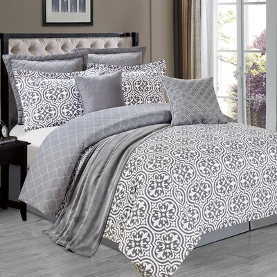 The La Salle Kendrick 8 Piece Comforter Set Size: Queen, Color: Gray