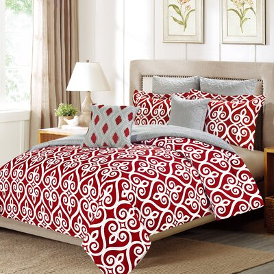 Hamilton 7 Piece Comforter Set Color: Red, Size: Queen