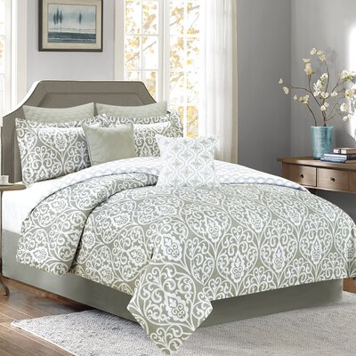 Olympia 7 Piece Comforter Set Color: Gray, Size: Queen
