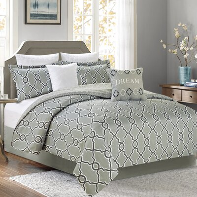 Jenny 7 Piece Comforter Set Color: Gray, Size: King