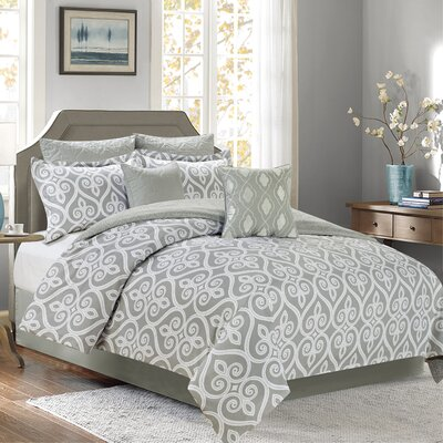 Hamilton 7 Piece Comforter Set Color: Gray, Size: Queen