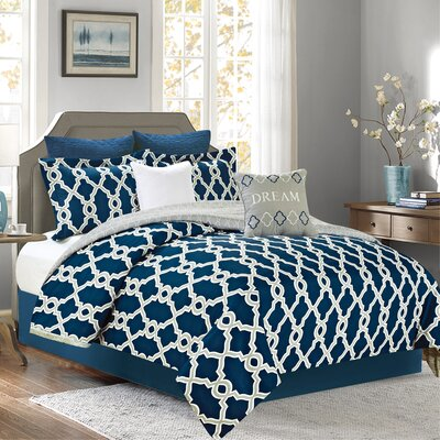 Jenny 7 Piece Comforter Set Color: Navy, Size: Queen