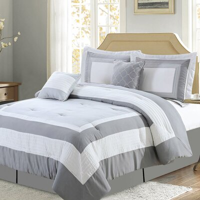 Landon Comforter Set Size: Queen, Color: Gray