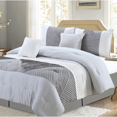 Muriel Comforter Set Size: Queen, Color: Gray
