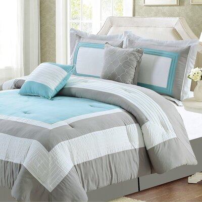 Landon Comforter Set Size: King, Color: Mineral