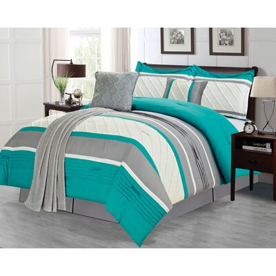 Bleeker 6 Piece Comforter Set Color: Teal, Size: Queen