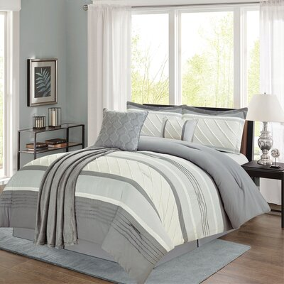 Bleeker 6 Piece Comforter Set Color: Gray, Size: King