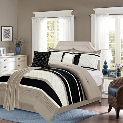 Bleeker 6 Piece Comforter Set Color: Taupe, Size: King