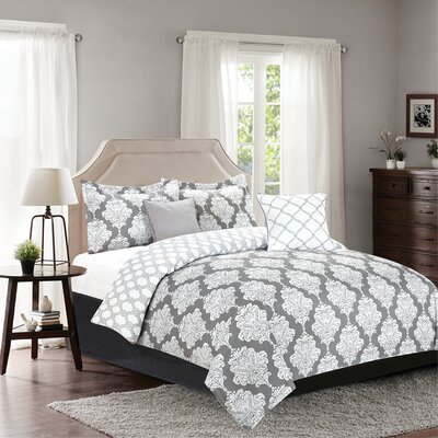 Mooers 5 Piece Reversible Comforter Set Color: Gray, Size: Queen