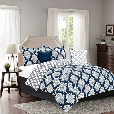 Mooers 5 Piece Reversible Comforter Set Size: King, Color: Navy