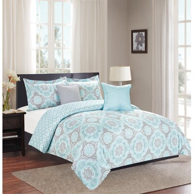 Isiah 5 Piece Reversible Comforter Set Size: King, Color: Mineral