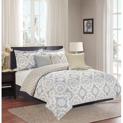 Isiah 5 Piece Reversible Comforter Set Size: King, Color: Natural